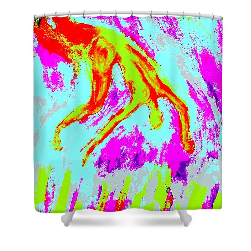 Man Shower Curtain featuring the painting Help Me I Am Falling Into The Burning Hell by Hilde Widerberg