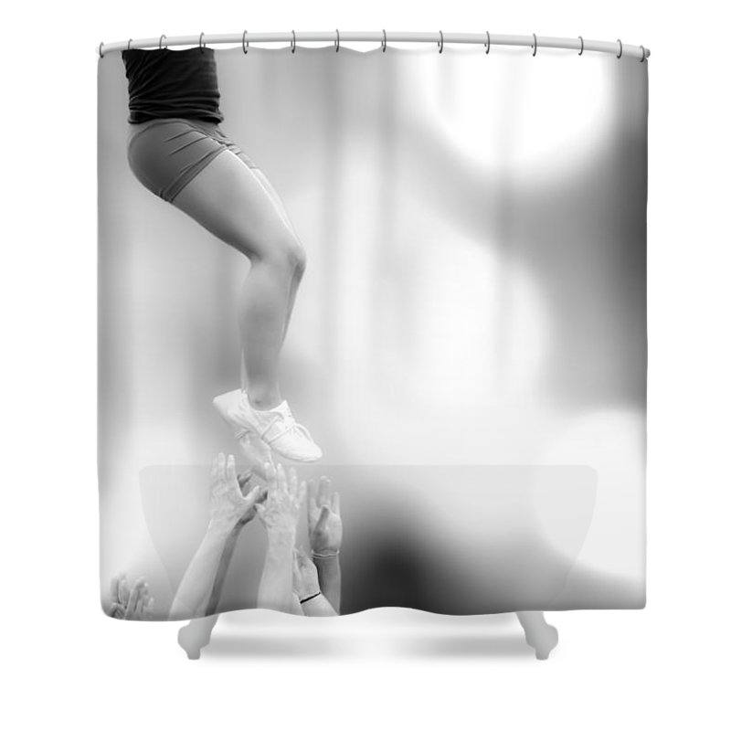 Gymnastics Shower Curtain featuring the photograph Helping Hands by Bob Orsillo