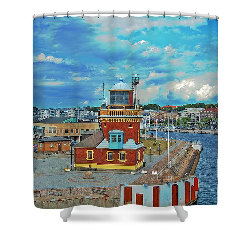Lighthouse Shower Curtain featuring the photograph Helsingborg Lighthouse Hdr by Antony McAulay