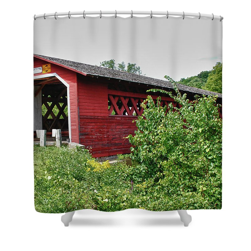 Bennington Shower Curtain featuring the photograph Henry Bridge 5797 by Guy Whiteley