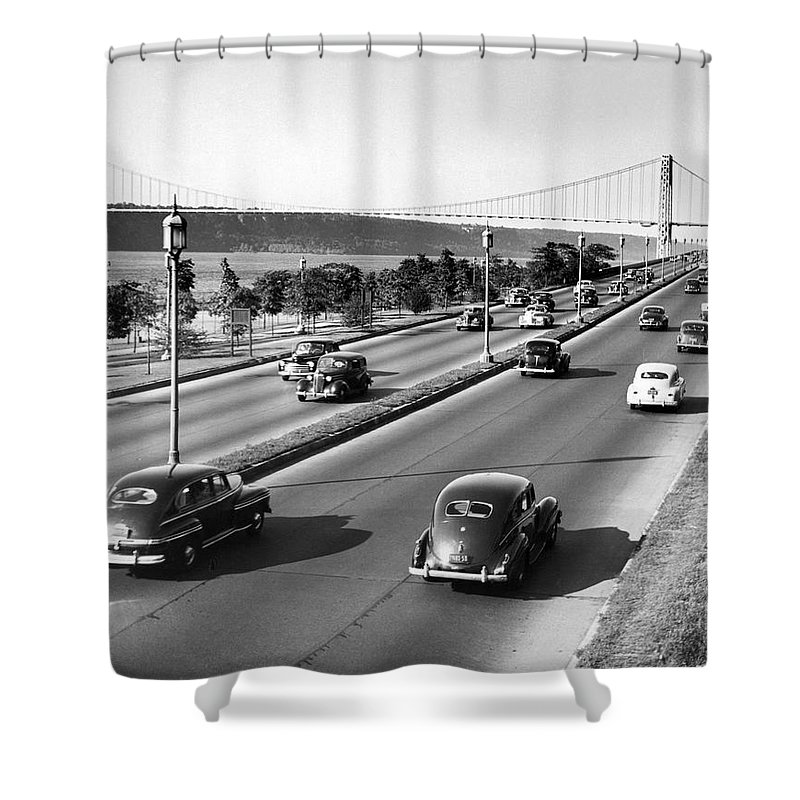 158 Street Shower Curtain featuring the photograph Henry Hudson Drive In New York by Underwood Archives