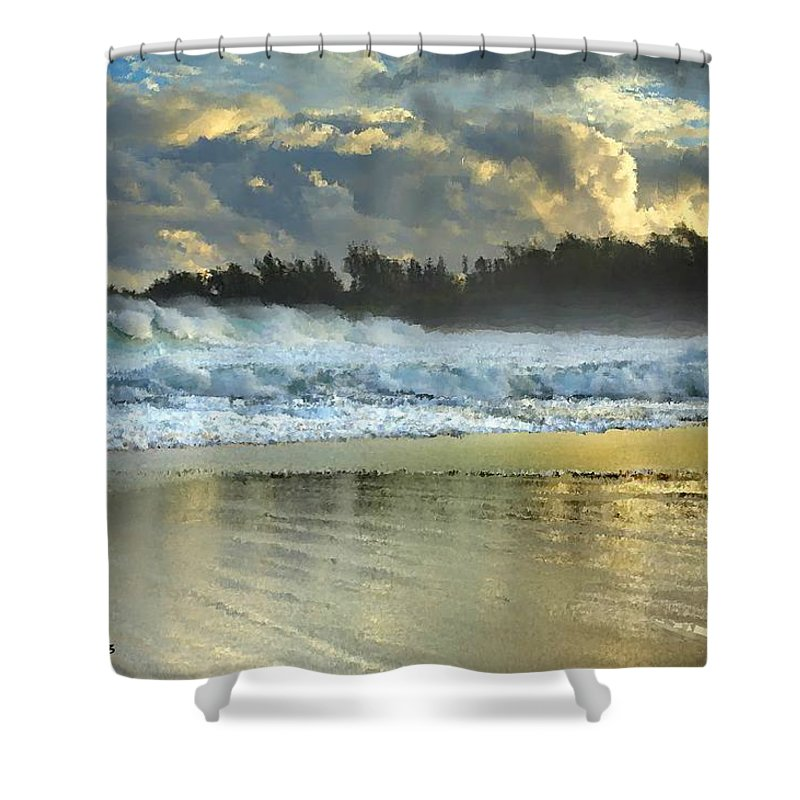 Ocean Shower Curtain featuring the painting Here Comes A Big One by Bruce Nutting