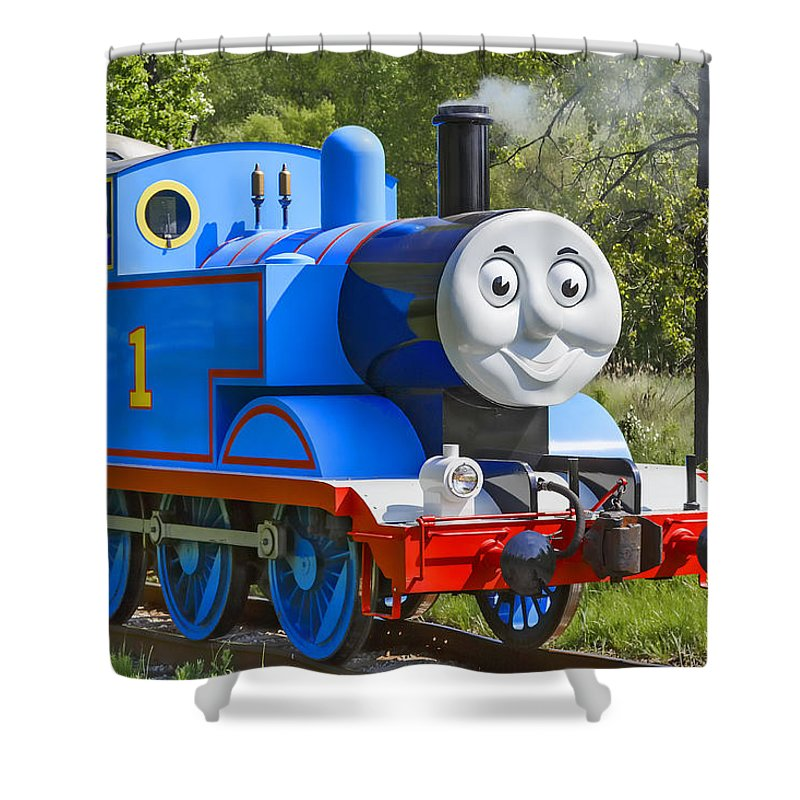 Thomas The Train Shower Curtain Featuring Photograph Here Comes By Dale Kincaid