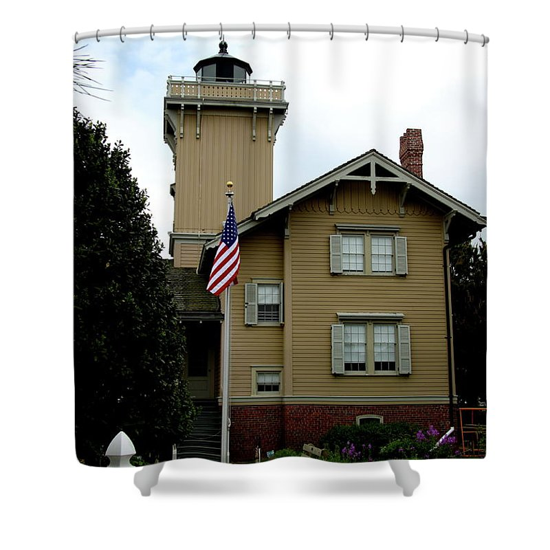 Hereford Inlet Lighthouse Shower Curtain featuring the photograph Hereford Inlet Lighthouse by Christiane Schulze Art And Photography