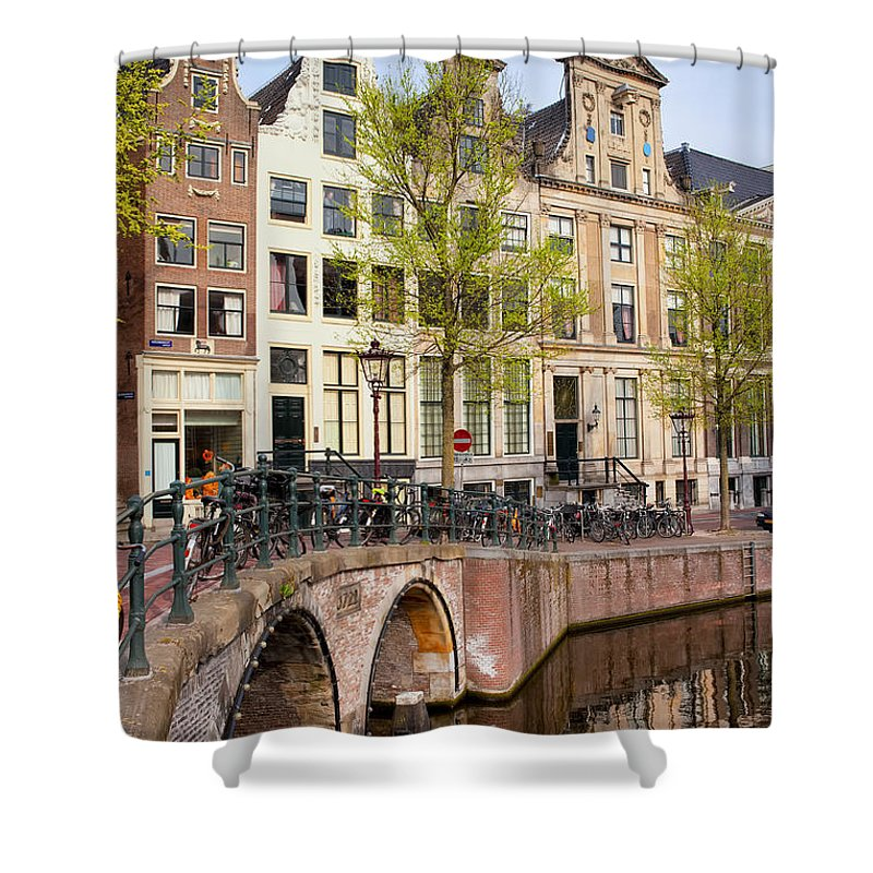 Amsterdam Shower Curtain featuring the photograph Herengracht Canal Houses In Amsterdam by Artur Bogacki