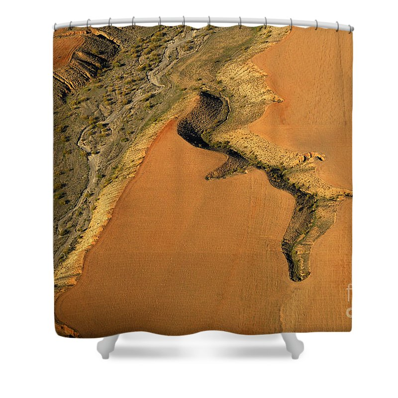 Aerial Photo Shower Curtain featuring the photograph heridas de tierra Aerial photography by Guido Montanes Castillo