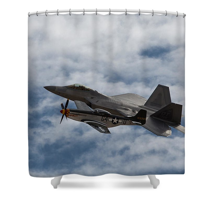 P-51 Shower Curtain featuring the photograph Heritage Flight by John Daly