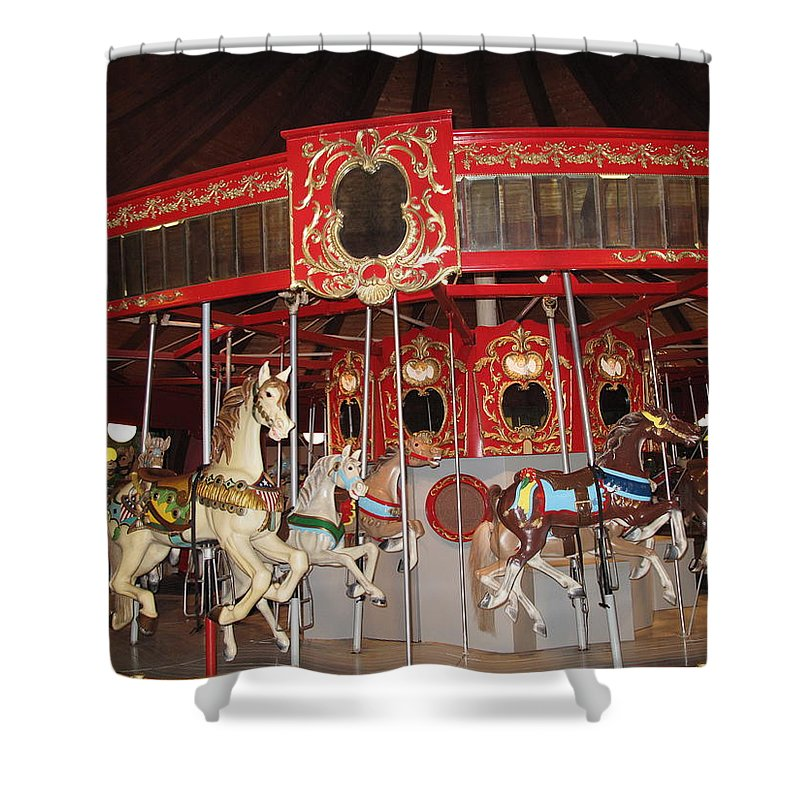 Carousel Shower Curtain featuring the photograph Heritage Looff Carousel by Barbara McDevitt