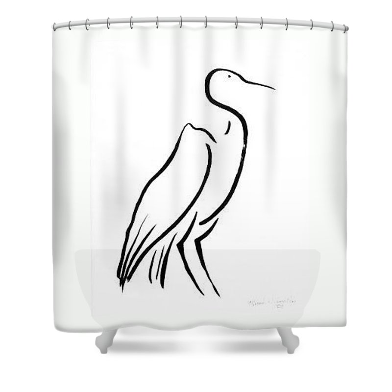 Calligraphy Shower Curtain featuring the drawing Heron by Micah Guenther