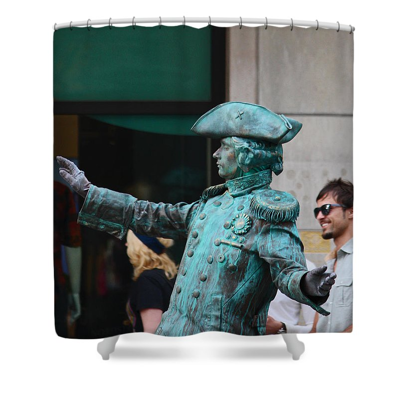 Statues Shower Curtain featuring the photograph He's Alive by Kym Backland
