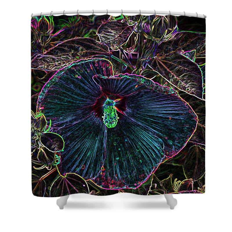 Hibiscus Shower Curtain featuring the photograph Hibiscus At Midnight by Sylvia Thornton