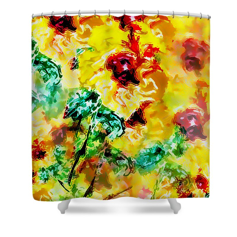 Flowers Shower Curtain featuring the digital art Hibiscus Impressionist by William Braddock