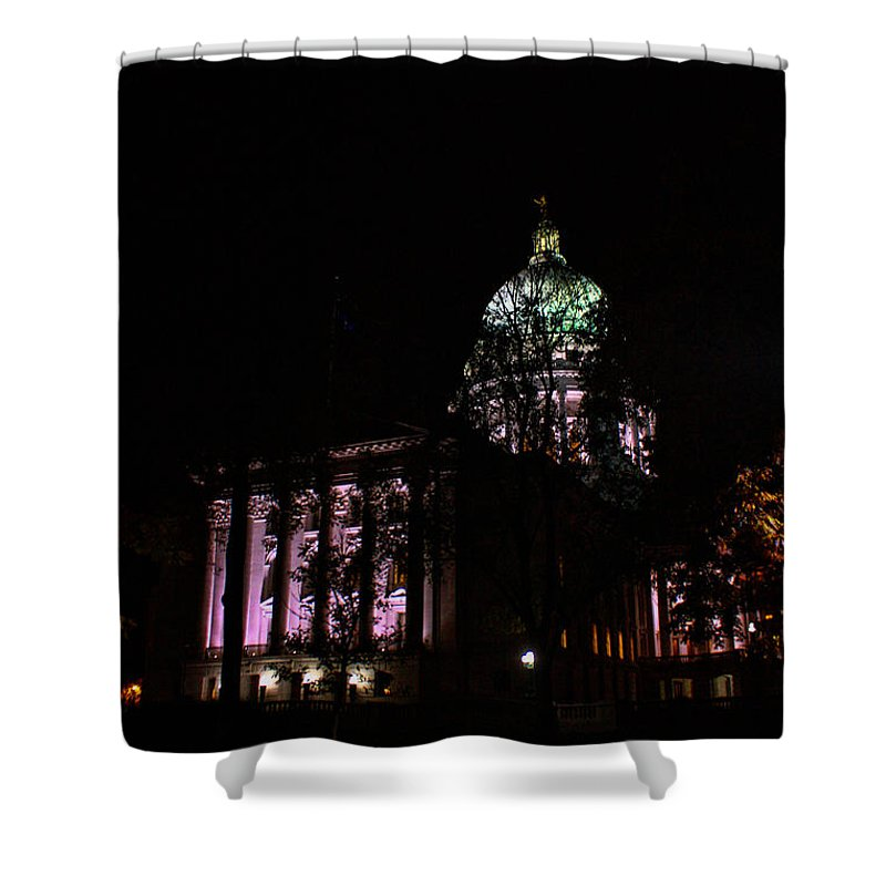 Madison. Wisconsin Shower Curtain featuring the photograph Hidden Capitol by Tommy Anderson