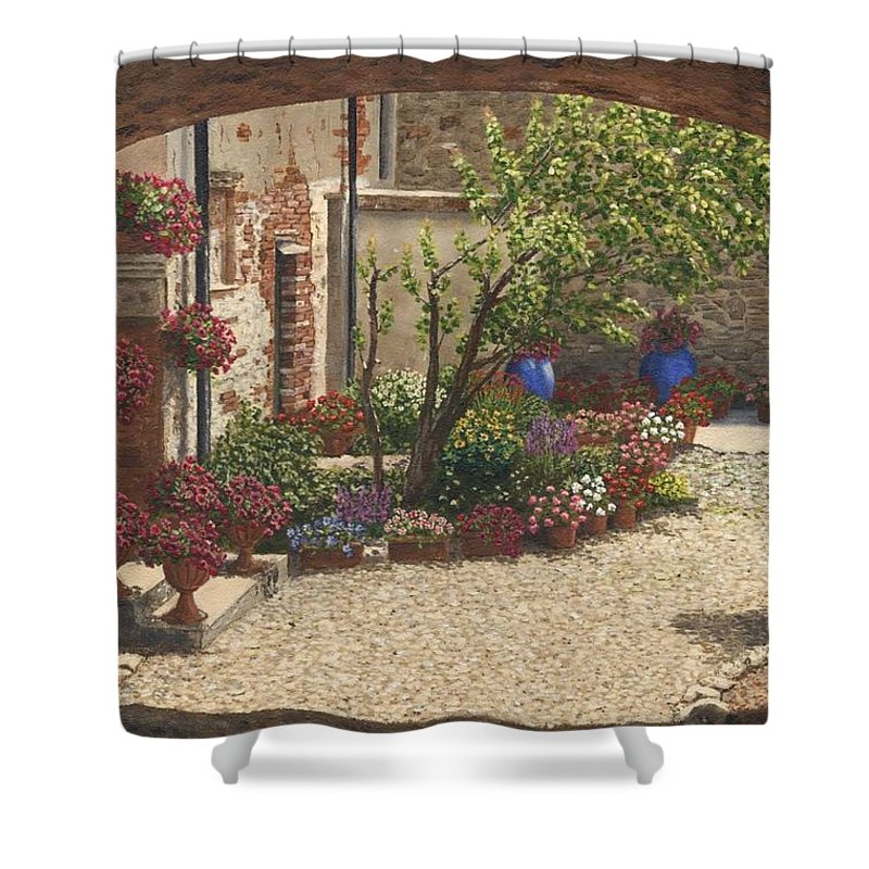 Landscape Shower Curtain featuring the painting Hidden Garden Villa Di Camigliano Tuscany by Richard Harpum