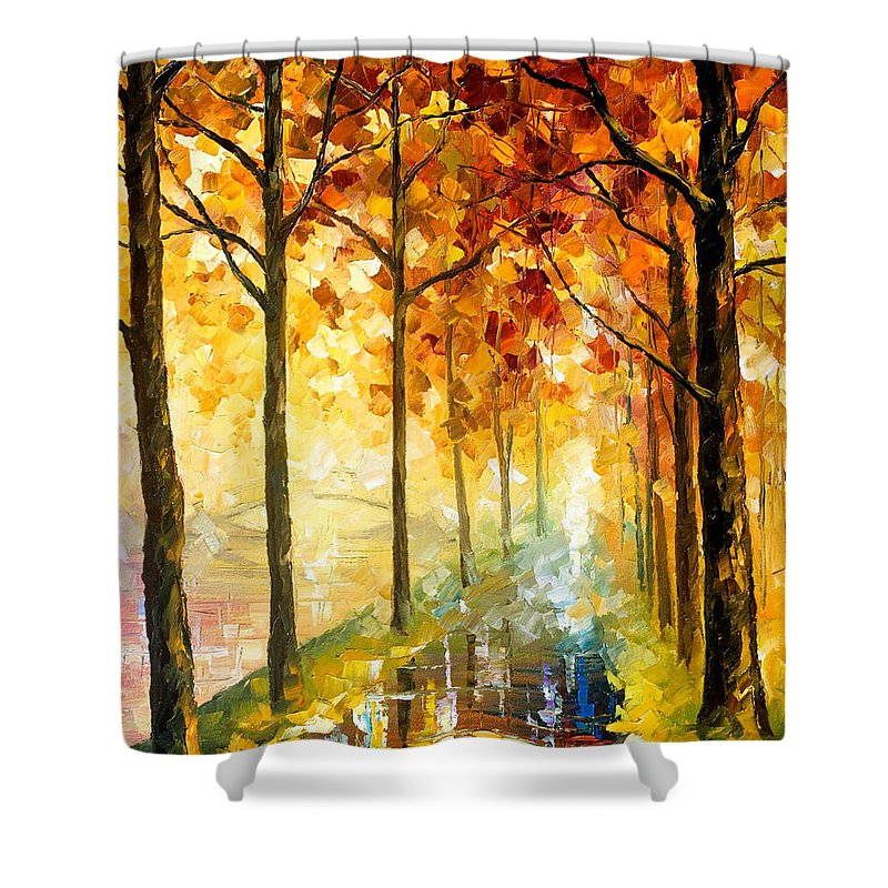 Oil Paintings Shower Curtain featuring the painting Hidden Path - Palette Knife Oil Painting On Canvas By Leonid Afremov by Leonid Afremov