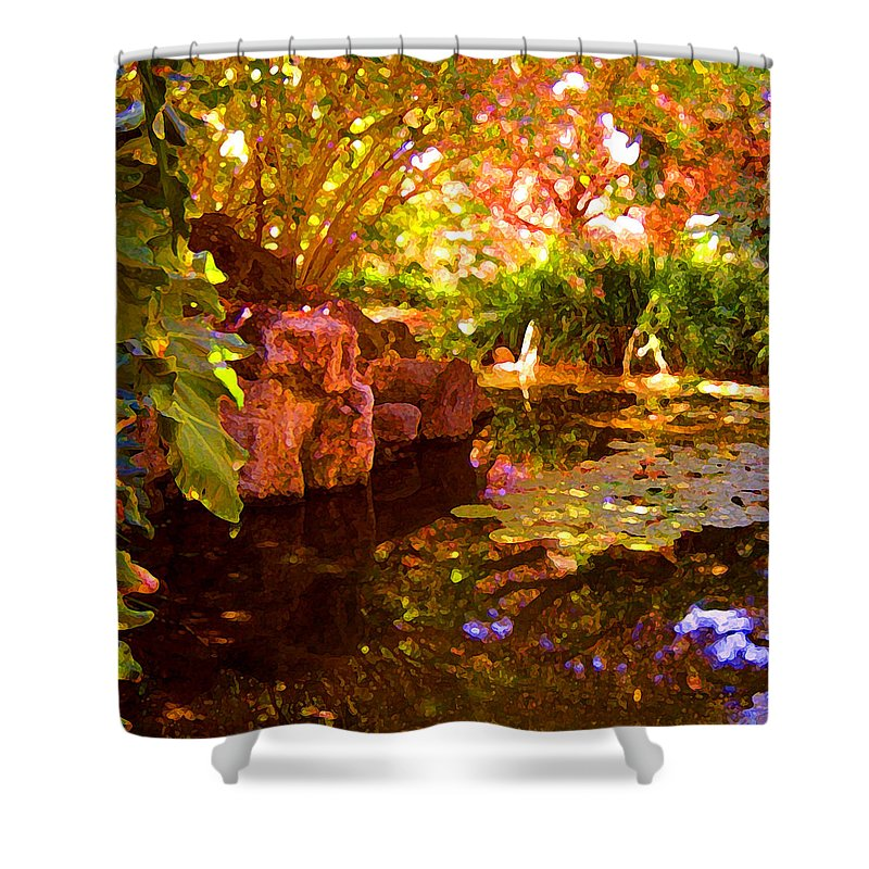 Water Landscape Shower Curtain featuring the painting Hidden Pond by Amy Vangsgard