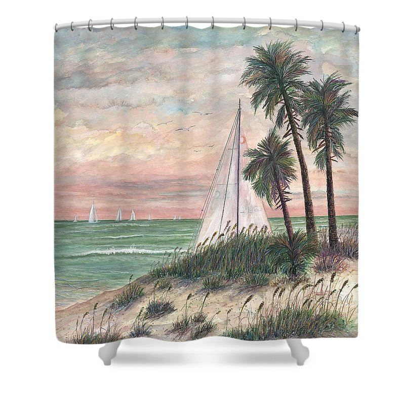 Sailboats; Palm Trees; Ocean; Beach; Sunset Shower Curtain featuring the painting Hideaway by Ben Kiger