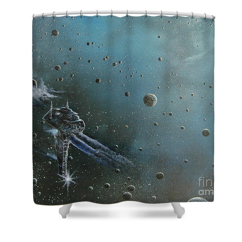 Astro Shower Curtain featuring the painting Hiding In The Field by Murphy Elliott