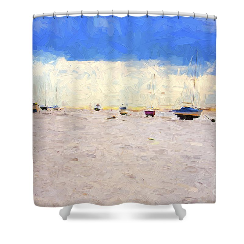 Yachts Shower Curtain featuring the photograph High and dry by Sheila Smart Fine Art Photography