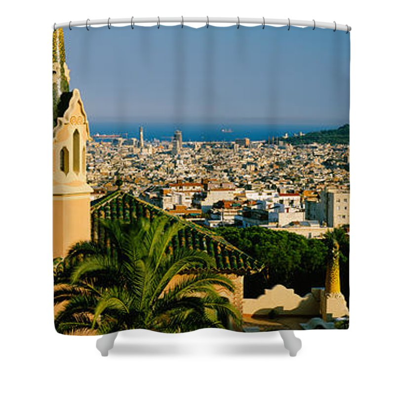 Photography Shower Curtain featuring the photograph High Angle View Of A City, Barcelona by Panoramic Images