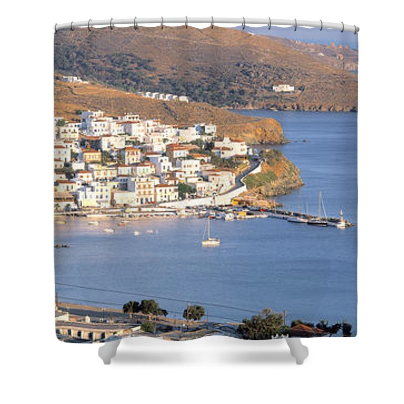 Photography Shower Curtain featuring the photograph High Angle View Of Buildings by Panoramic Images