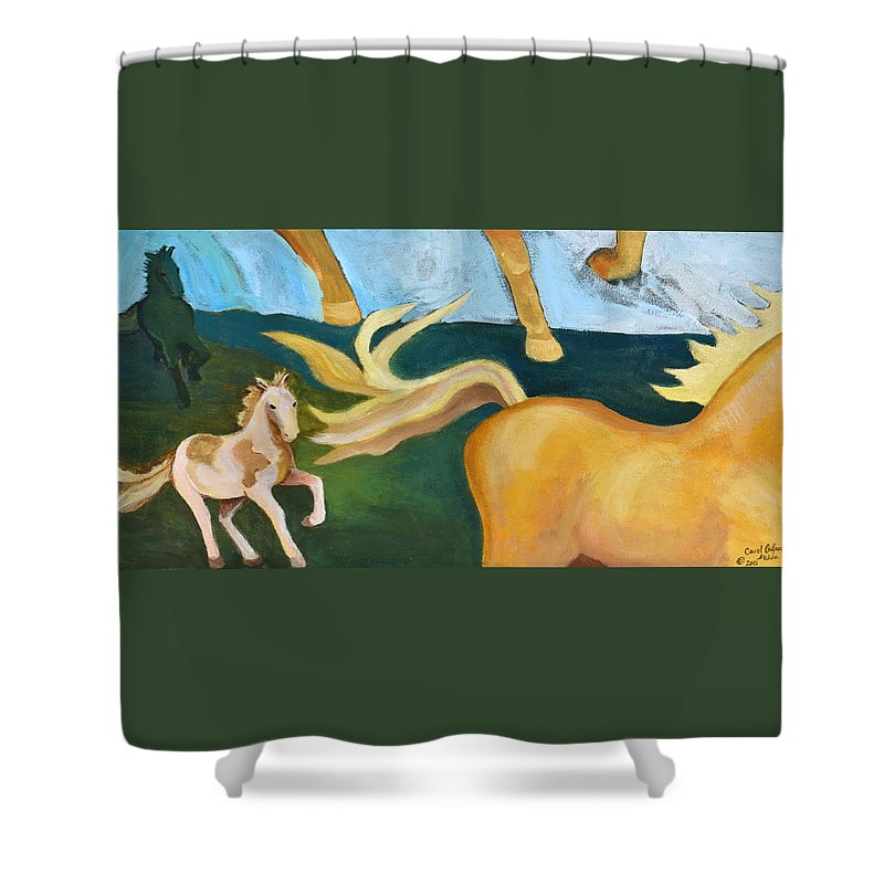 Palomino Shower Curtain featuring the painting High Horse by Carol Oufnac Mahan