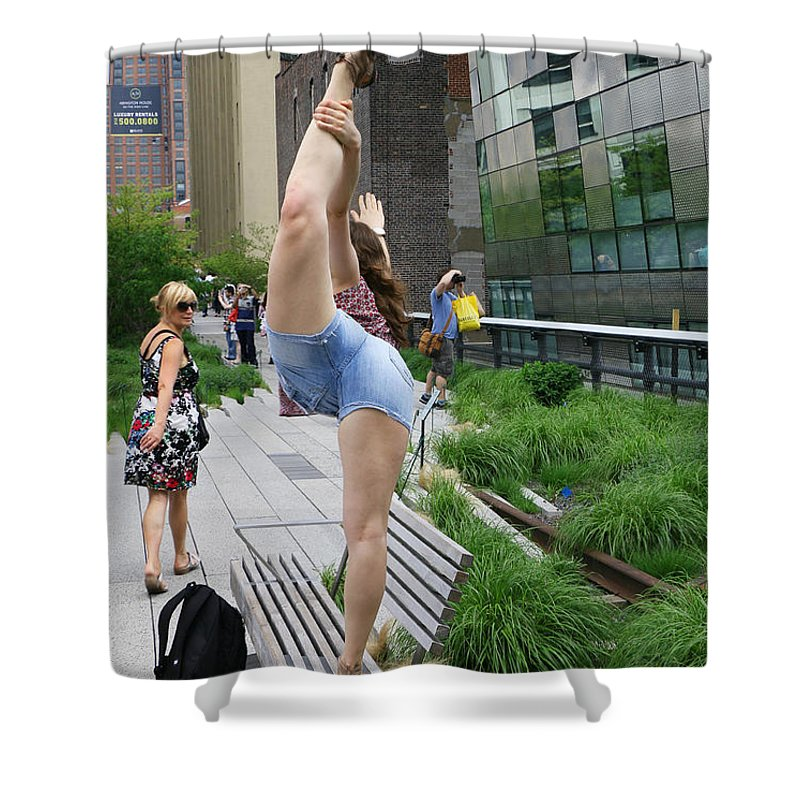 New Shower Curtain featuring the photograph High Line Exhibitionist by Allen Beatty