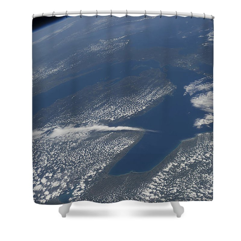 Outer Space Shower Curtain featuring the photograph High Oblique View Of Lake Michigan by Stocktrek Images