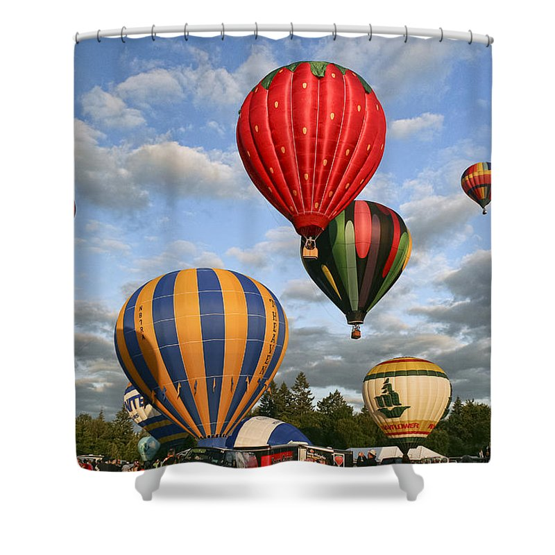 High On Hot Air Shower Curtain featuring the photograph High On Hot Air by Wes and Dotty Weber