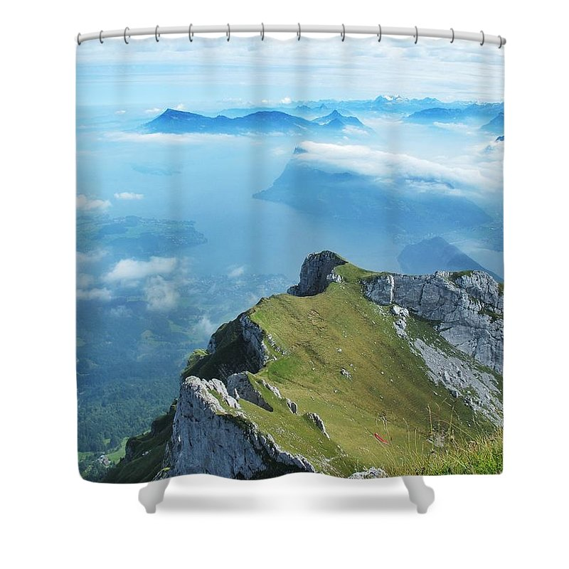 Mountains Shower Curtain featuring the photograph High On Nature At Mt. Pilatus by Mary Ellen Mueller Legault
