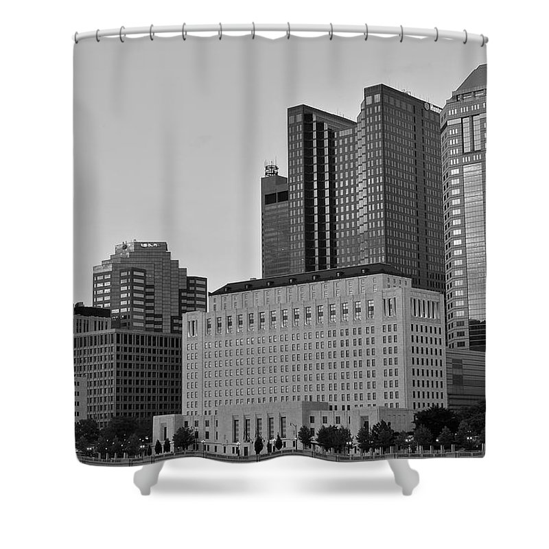 Columbus Shower Curtain featuring the photograph Columbus Close Up Black And White by Frozen in Time Fine Art Photography