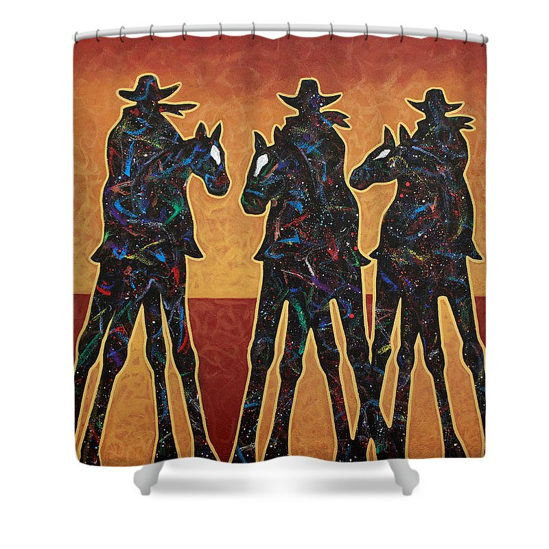 Cowboys Shower Curtain featuring the painting High Plains Drifters by Lance Headlee