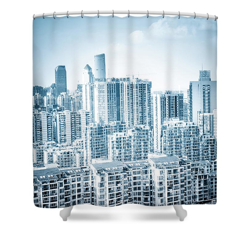 Residential District Shower Curtain featuring the photograph High Rise Residential Area by Aaaaimages