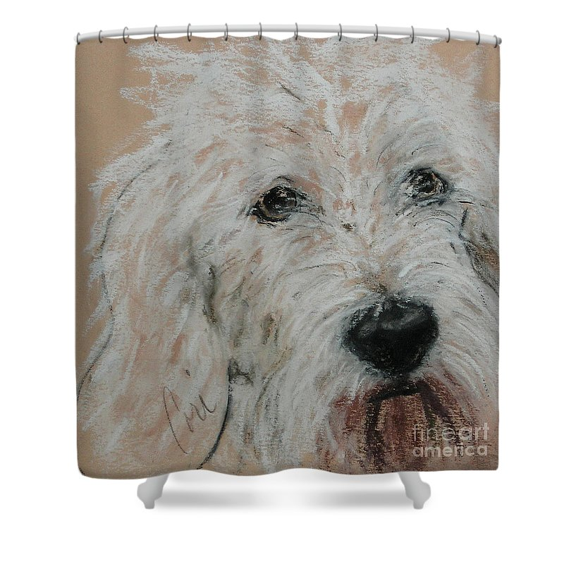 Dog Shower Curtain featuring the drawing High Spirits by Cori Solomon