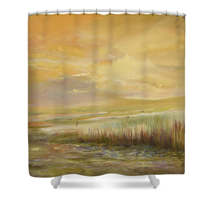 Original Oil Shower Curtain featuring the painting High Tide by Julianne Felton