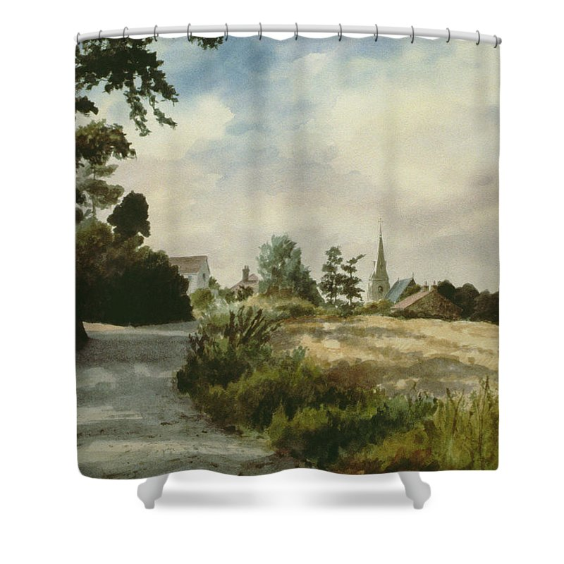 Shower Curtain featuring the painting Higham Upshire by Vic Trevett