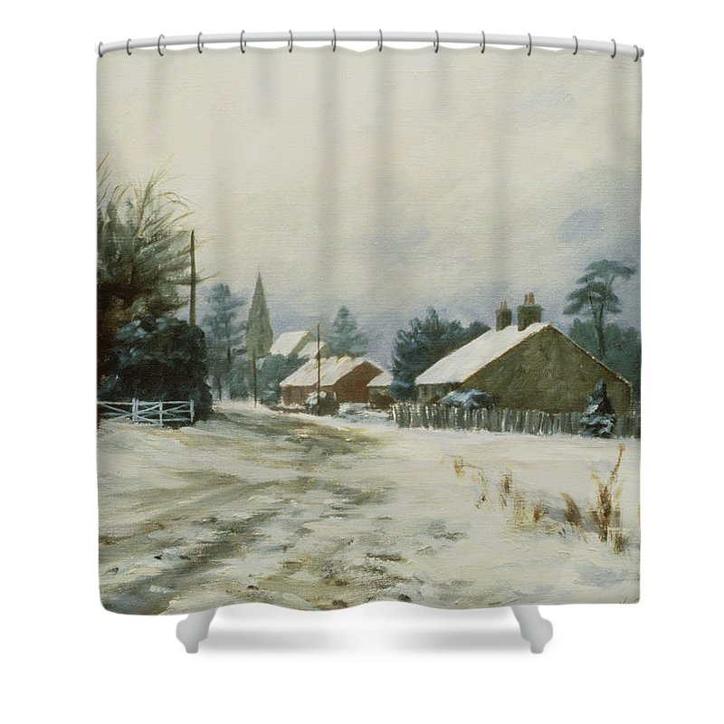 Shower Curtain featuring the painting Higham Winter 86 by Vic Trevett
