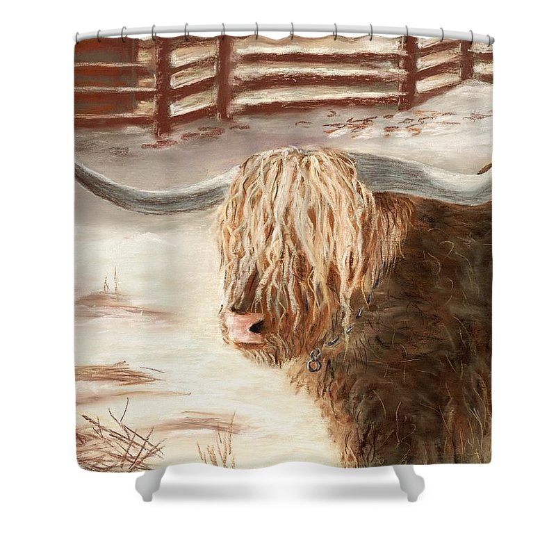 Countryside Shower Curtain featuring the painting Highland Bull by Anastasiya Malakhova