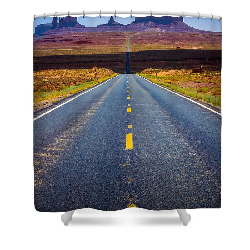 America Shower Curtain featuring the photograph Highway 163 by Inge Johnsson