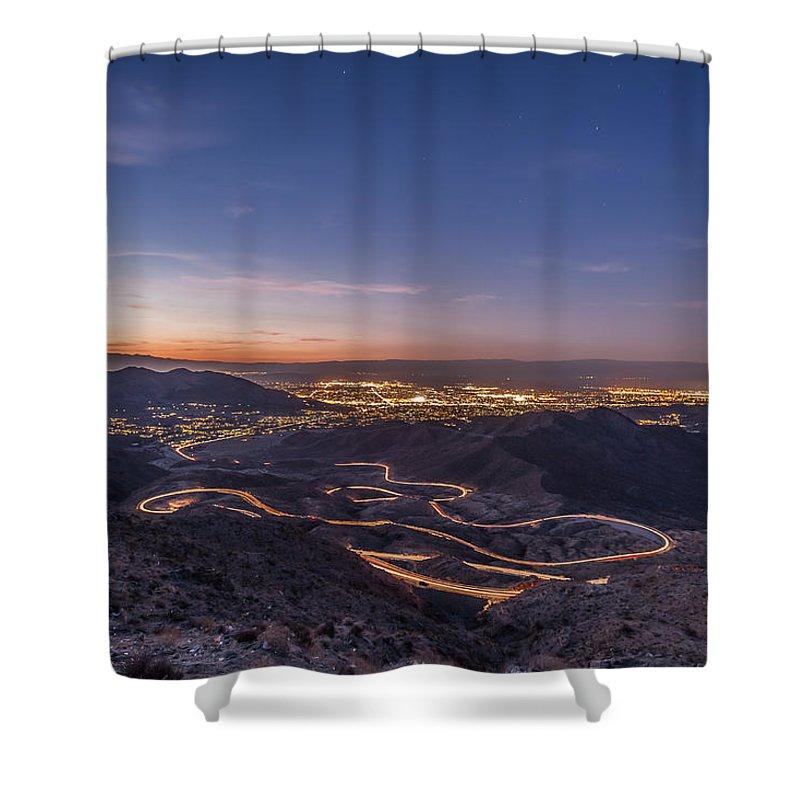 Highway 74 Vista Point Palm Desert Light Painting Shower Curtain ...
