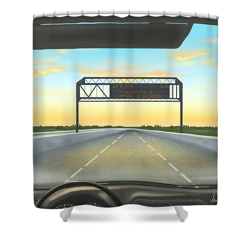 Ipad Shower Curtain featuring the painting Highway by Veronica Minozzi