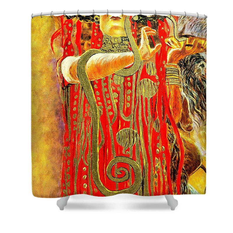 Gorecki Shower Curtain Featuring The Painting Higieja According To Gustaw Klimt By Henryk
