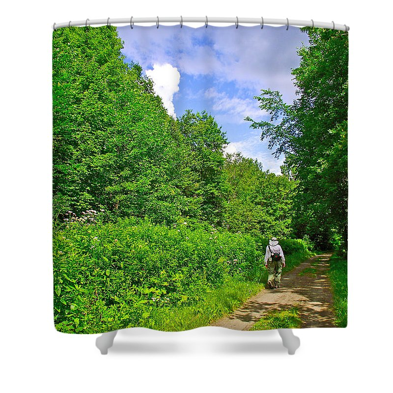 Hiking Trail Along Rivier Du Nord In The Laurentians North Of Montreal Shower Curtain featuring the photograph Hiking Trail Along Rivier Du Nord In The Laurentians North Of Montreal-qc by Ruth Hager