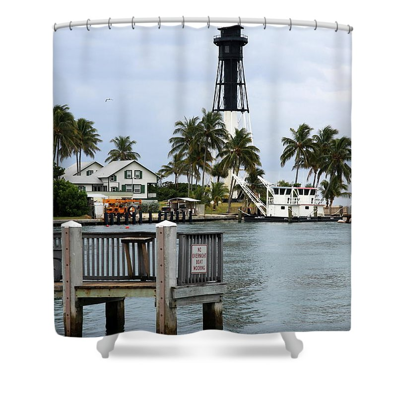 Lighthouse Shower Curtain featuring the photograph Hillsboro Inlet Light by Christiane Schulze Art And Photography