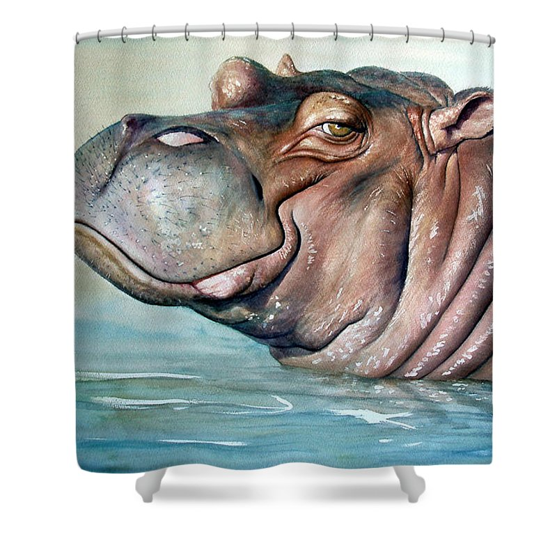 Hippo Shower Curtain Featuring The Painting Lisa By Joey Nash