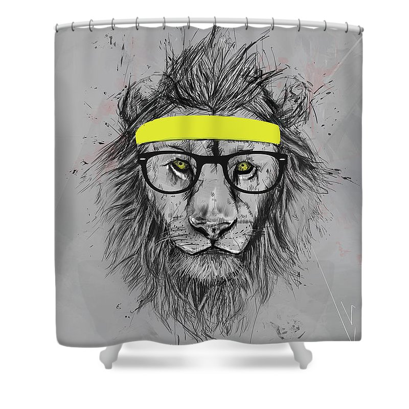 Lion Shower Curtain featuring the drawing Hipster lion by Balazs Solti