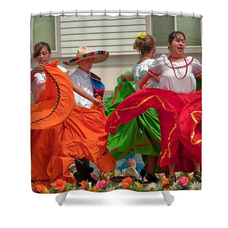 Berry Dairy Days Shower Curtain featuring the photograph Hispanic Women Dancing In Colorful Skirts Art Prints by Valerie Garner