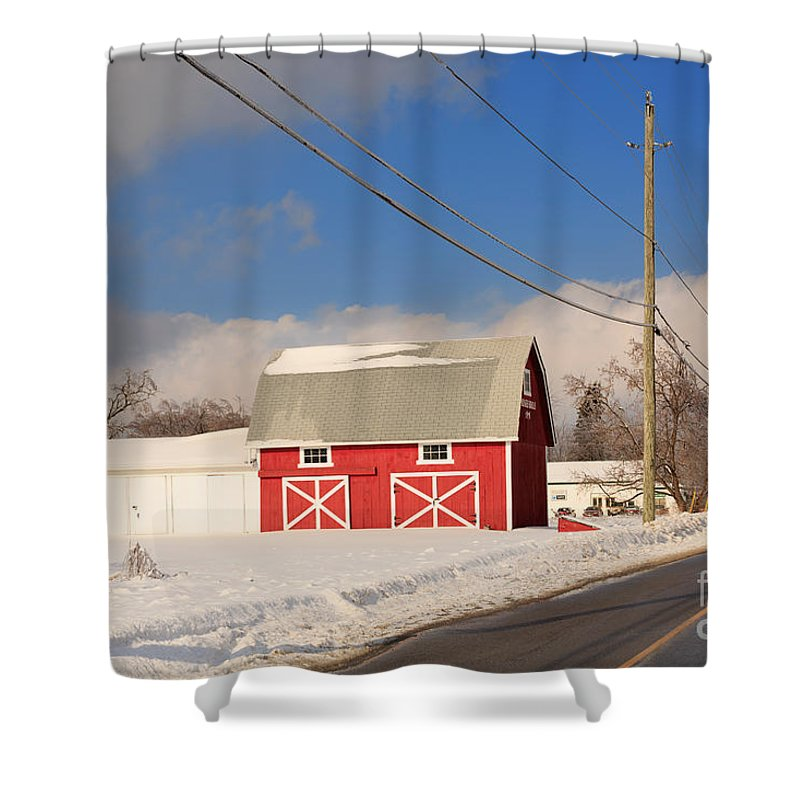 Red Shower Curtain featuring the photograph Historic Red Barn On A Snowy Winter Day by Louise Heusinkveld
