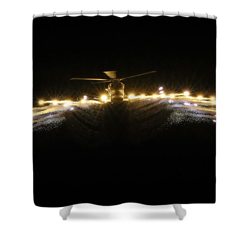 829 Squadron Shower Curtain featuring the photograph Hms Monmouth's Merlin Helicopter by Paul Fearn