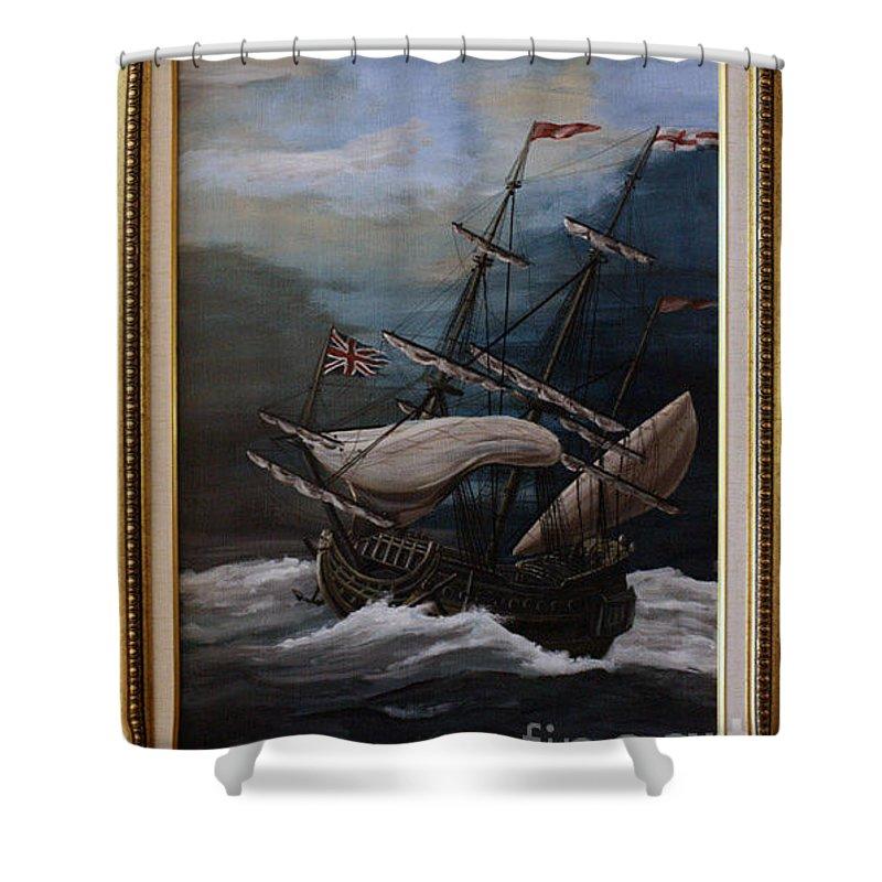 Battle Of Trafalgar Shower Curtain featuring the painting Hms Royal Prince 1670 by Richard John Holden RA
